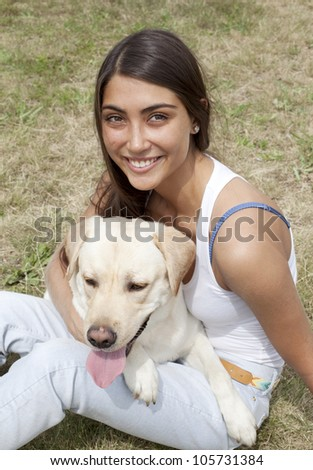 girl and dog - stock photo
