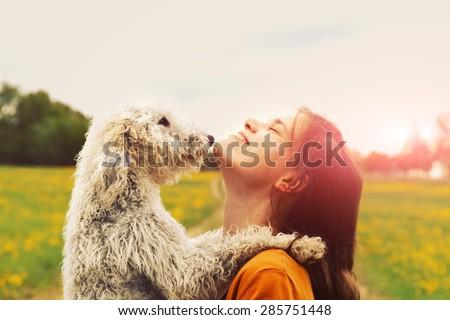 girl and dog - stock photo
