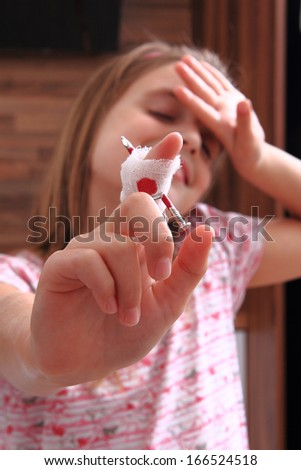 girl and finger problem - stock photo
