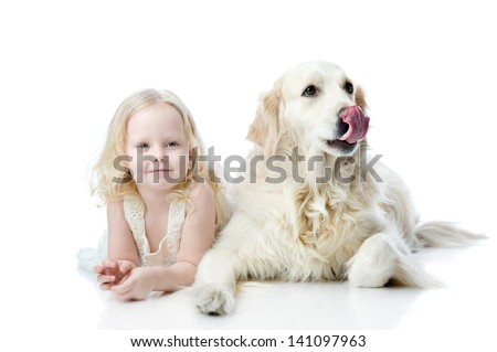 girl and Golden Retriever. looking at camera. isolated on white background