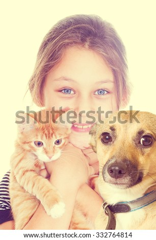 girl and kitten and dog  - stock photo