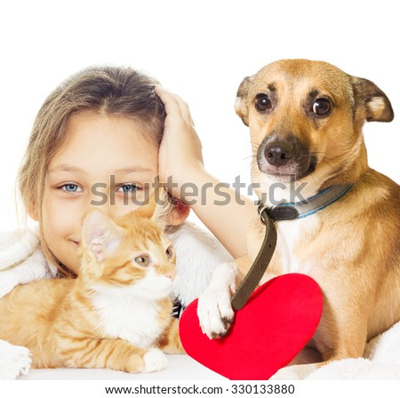 girl and kitten and dog on a white background  - stock photo