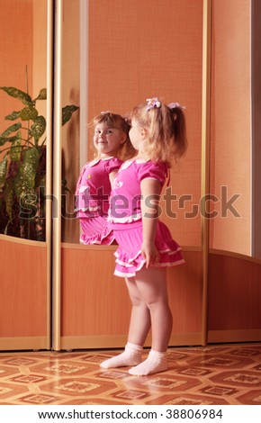girl and mirror - stock photo
