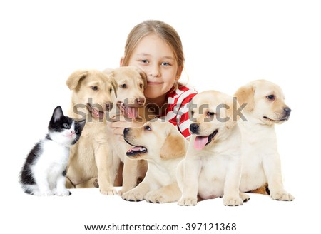 girl and pets - stock photo