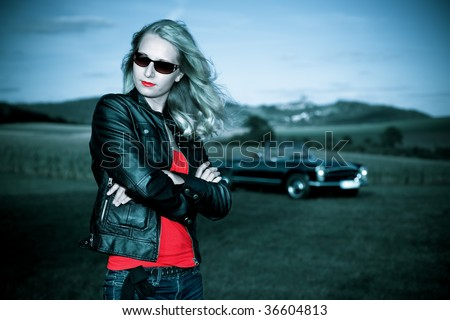 Girl and Post-War model  Y.O.M. 1963-1967 - stock photo