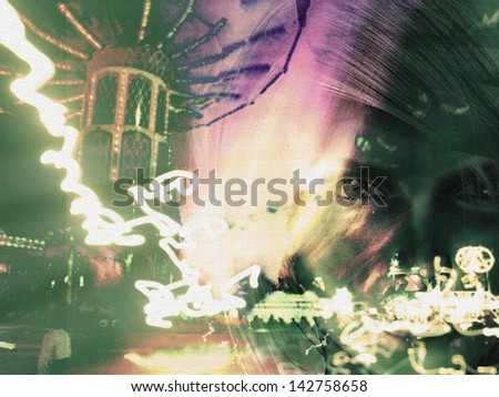 Girl and rushing carnival - stock photo
