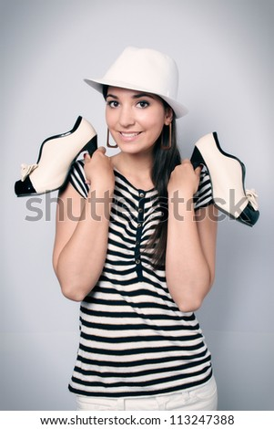Girl and shoes - stock photo