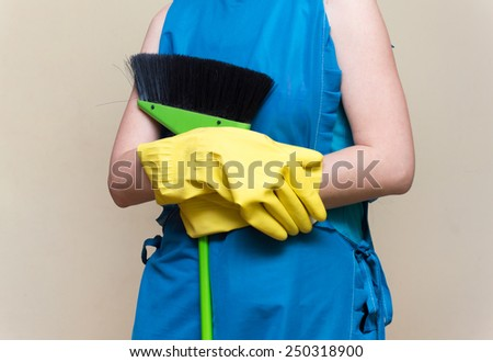 girl apron mop cleans
