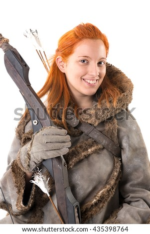 girl archer in a costume with bow isolated in white - stock photo