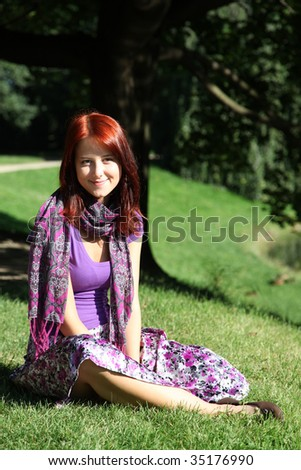 Girl at green grass