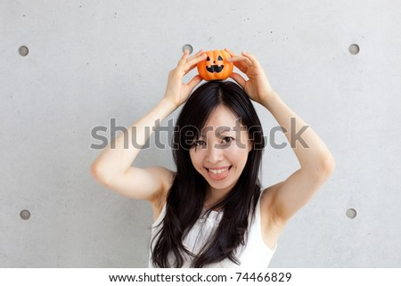 Girl at Halloween - stock photo
