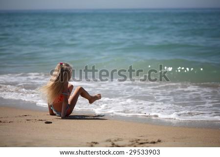girl at sea - stock photo