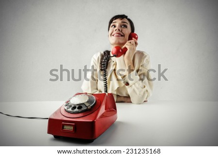 Girl at the phone  - stock photo