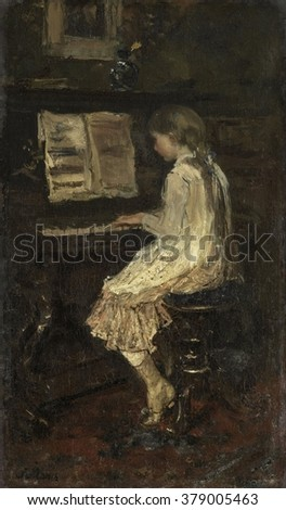 Girl at the Piano, by Jacob Maris, c. 1879, Dutch painting, oil on canvas.
