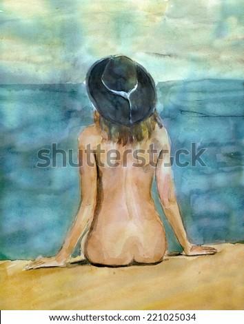 Girl at the sea - stock photo