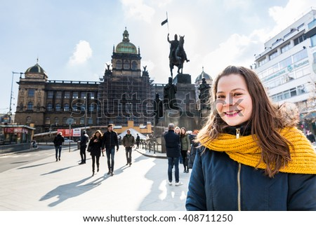 Girl at the Wenceslas Square in Prague