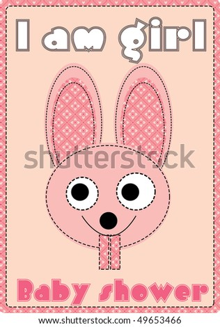 girl baby shower with bunny - stock photo