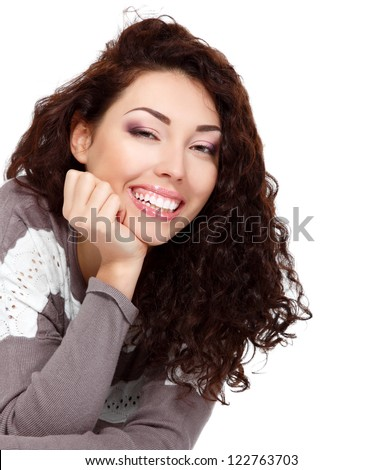 girl beauty, young beautiful cheerful woman looking at camera and smiling over white background