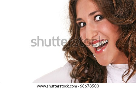 Girl big smile on a white background