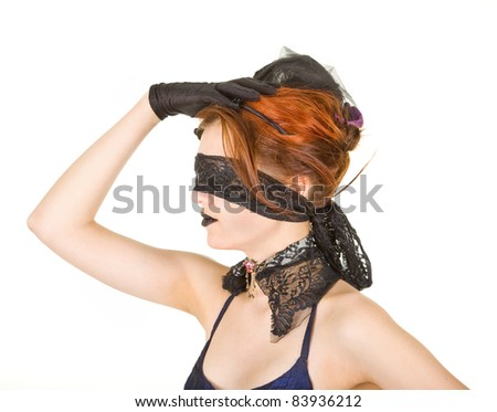 Girl blindfolded and dressed in underwear