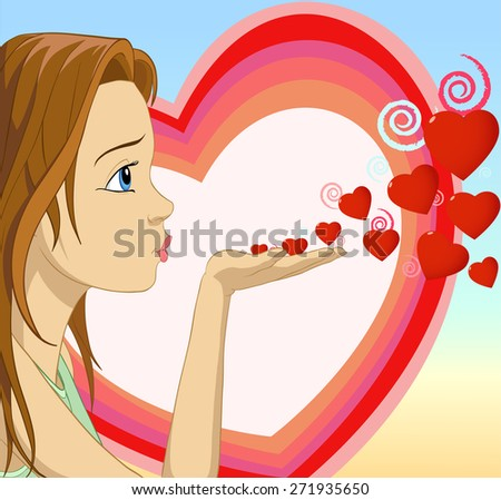 Girl blowing kisses heart shape on valentine background - stock photo