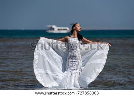 Girl Bride Posing Wedding Dress White Stock Photo (Download Now ...