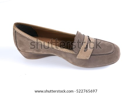 Girl Brown Leather Shoes on White Background, isolated product