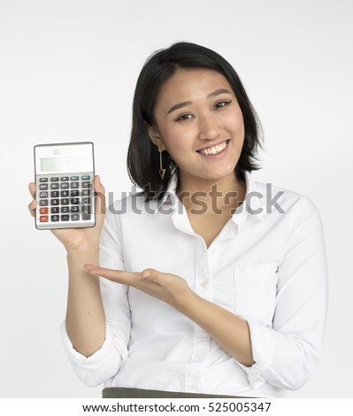 Girl Calculator Business Confident Expression Concept