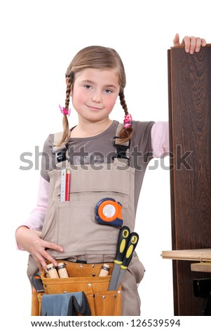 Girl carpenter - stock photo