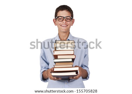 girl carrying books isolated on white background