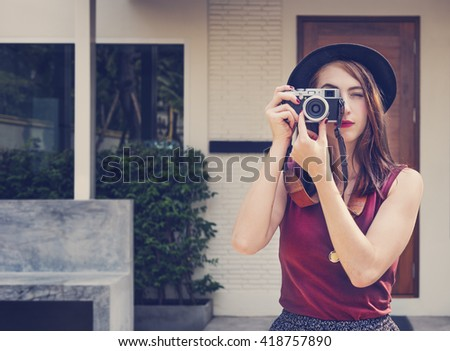 Girl Casual Camera Activity Photographer Leisure Concept - stock photo