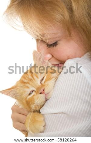girl cat pet owner kitten women - stock photo