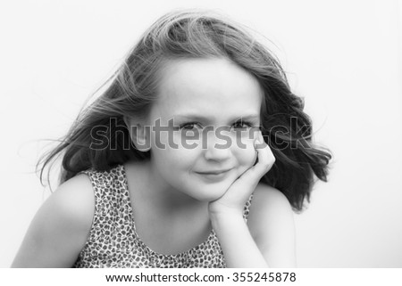 Girl Child Character Young girl child closeup character portrait vintage - stock photo