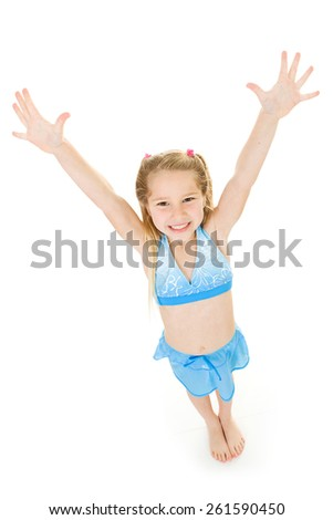 Girl: Child Excited To Go Swimming