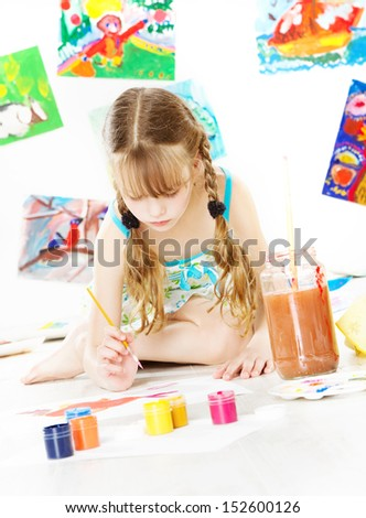 girl child painting with color brush children creativity and drawing art concept - Children Drawing Pictures For Painting