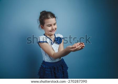 Girl Child Teen seven years, European appearance brunette smilin - stock photo