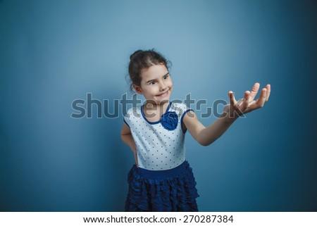 Girl Child Teen seven years, European appearance brunette smiling - stock photo