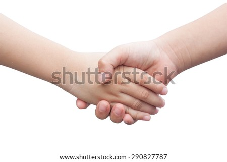Girl clasp hand in isolated background.