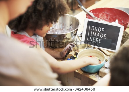 Girl Cooking Kitchen Food Family Concept - stock photo