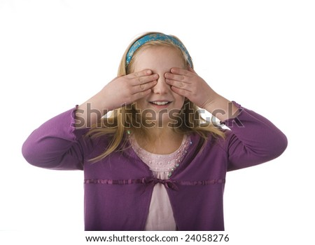 Girl covering eyes isolated on a white background - see no evil - stock photo