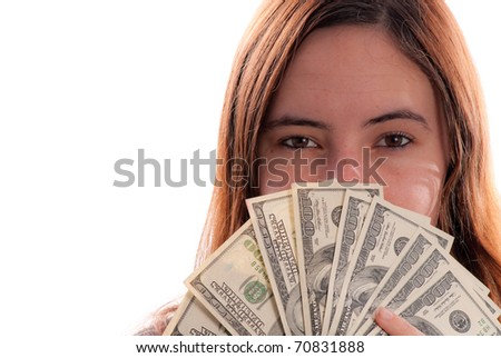 Girl Covering Half of Face with Large Denomination of Money - stock photo