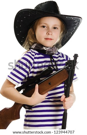 Girl cowboy in a black hat with a weapon on a white background.