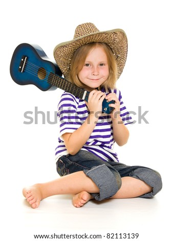 Girl cowboy on a white background.