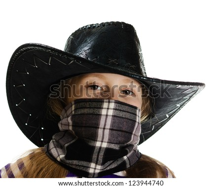 Girl cowboy with a bandage on his face in a black hat on a white background. - stock photo