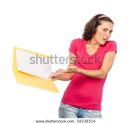 Girl criticizes documents in her hands - stock photo