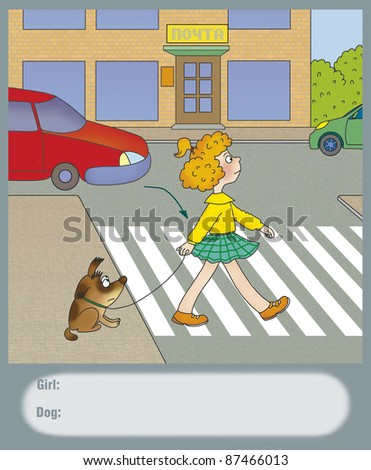 girl cross the road at a pedestrian crossing - stock photo