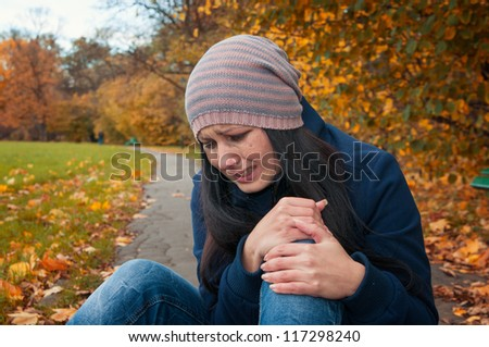 girl crying in depression and frustration - stock photo