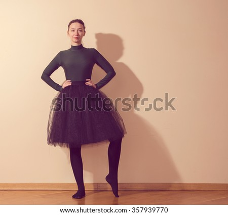 Girl dancer in the room - stock photo