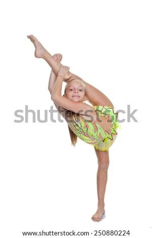 girl dancer or gymnast in flexible pose - stock photo