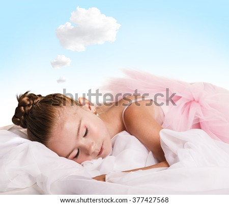 Girl dancer tired and asleep - stock photo
